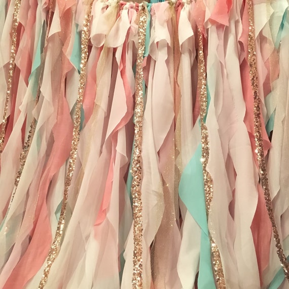 Pink Mint And Gold Nursery: Mint Pink Peach Gold Backdrop Baby Shower By