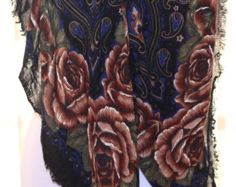 Black with Roses - Vintage Italian Scarf - 1960's - Mark Henri Collection