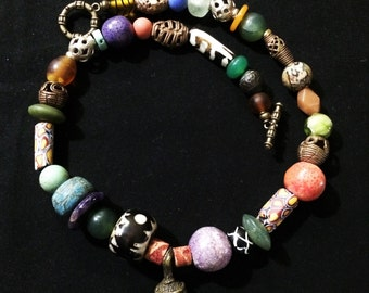 Abstract African Trade Bead BoHo Necklace.