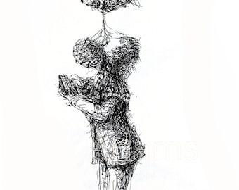 Original Ink Drawing, GUIDED,  pen and ink art, original art, black and white art