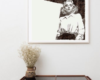 Bedroom wall decoration, wall art, Art Print / Original painting, movies star, black and white Illustration, Hollywood art, Marlene Dietrich