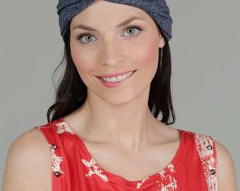 Jeans Turban Hat, Women's Turban hat, Denim Turban Headwrap, Fashion Turban Hat, Jeans Turban Headband, Blue Hat, Blue Turban Headband