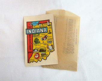 50s Indiana Travel Decal - The Hoosier State - Map of Indiana - Suitcase Trunk Sticker - Vintage 1950s