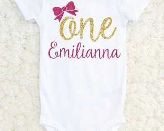 First Birthday Outfit Girl, First Birthday Shirt, 1st Birthday Cake Smash, Birthday Girl Personalized Outfit, One Bow Shirt, Photoshoot