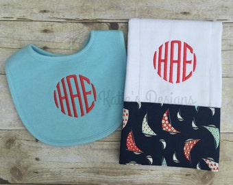 Monogrammed Burp Cloth and Bib, Boy Baby gift set, Monogrammed baby bib and burp cloth gift set, Personalized bib and burp cloth, New Baby