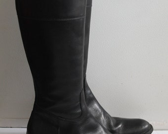High Boots Black Leather FX / Vtg Riding Boots Black Leather / 37