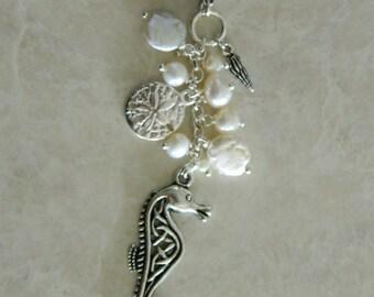 Greek Filigree Seahorse, Pearl, Swarovski & Charm Necklace