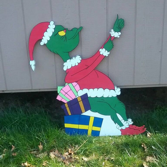 Christmas Cutout Decorations: Grinch Stealing Lights Christmas Yard Art By