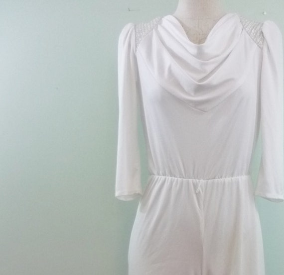 SALE! / White and Silver Jumpsuit / Offbeat Bridal Wear / Late 1970s, Early 1980s / Modern Small S to Medium M