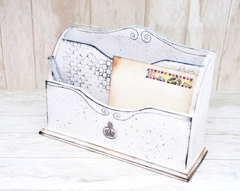 Mail organizer Desk mail organizer Mail holder Hand-painted wood mail organizer Mail sorter  Letter holder  Chess mail sorter