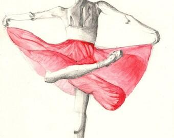 Ballet dancer - petticoat and ballerina - black square sketch and watercolor - A4 (29,7 x 21.0 cm)