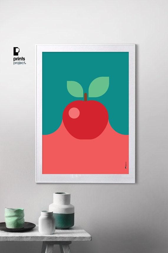Red Apple Print Kitchen Wall Art Modern Kitchen by ...