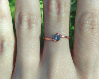 Rock Crystal CHOOSE color Gemstone Bare Copper RIng Natural Stone Gypsy Bohemian Copper stacking