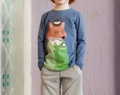 Applique Boys Shirt/Boy Tshirt/Toddler Boys Shirt/Fox Shirt/Hipster Boy Shirt/Hipster Kids Clothes/Long sleeve/Boys Toddler Clothes