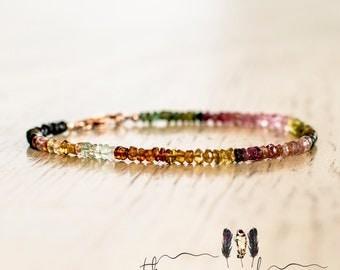 Watermelon Tourmaline Bracelet | Thin Beaded Gemstone Bracelet | Colorful Stacking Bracelet | Ombre Bracelet | Rainbow Bracelet