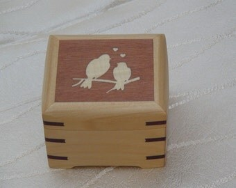 Love birds marquetry inlay ring box, Customise or personalise ring box, handcrafted wooden ring box for your special occasion