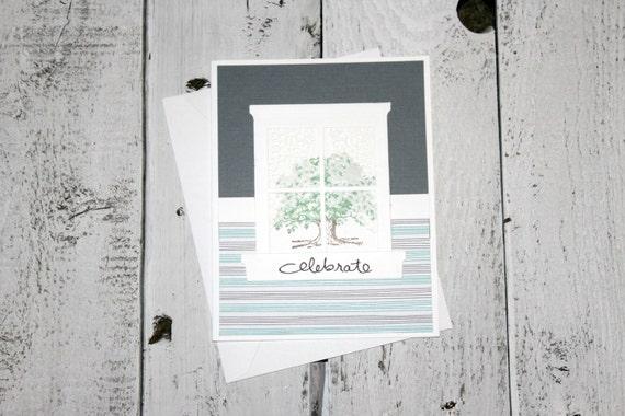 Handmade House Warming Card, New Home, Celebrate, Masculine Card