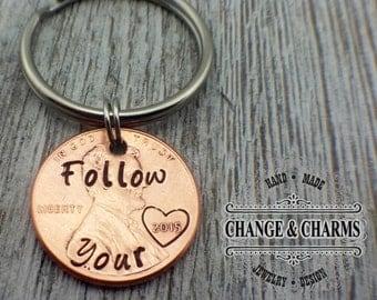 Custom Follow your Heart Penny Keychain, Lucky Penny, Anniversary Keychain, Gift for Boyfriend, Gift for Girlfriend, Penny Keychain , Custom