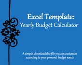 Yearly/Monthly Budget Calculator Excel Spreadsheet Template | Instant Download