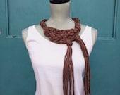 Statement necklace, Tshirt Yarn Necklace, Bib Necklace, Brown Necklace, Zpagetti yarn, Chunky Necklace, Knotted Necklace, Knot Necklace