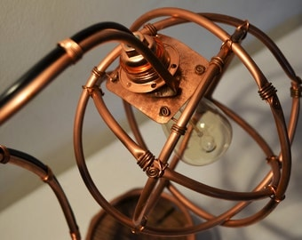 Copper and Wood Table Lamp