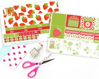 Strawberry Fields Forever Monthly View Planner Sticker Kit for Erin Condren Planners or Recollections Spiral Planners