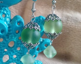 Frosted green glass earrings