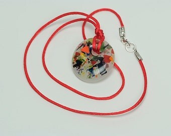 Handcast Round Fused Glass Pendant Necklace N1-PC White and Multicolor