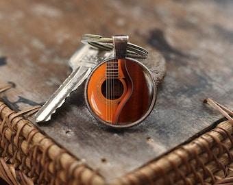 Guitar Keychain, Acoustic Guitar Art Keychain, handmade music Keychain, Guitar player gift, Gift for musician, men's Keychain