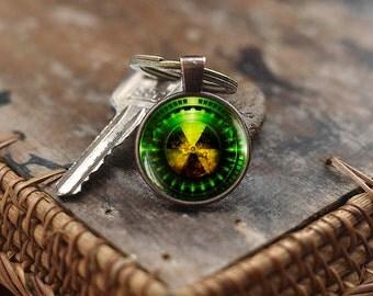 Radiation Hazard Symbol Keychain, Radioactive Chemistry Keychain, Physics Keychain, Sci Fi Science Keychain, Fallout Keychain
