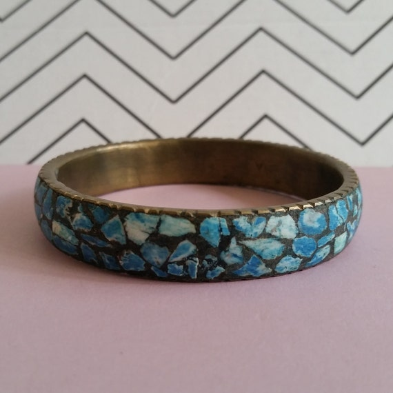 Vintage Turquoise And Brass Blue Mosaic Bracelet / Bangle - Antique Jewelry From India - 1960's Bohemian