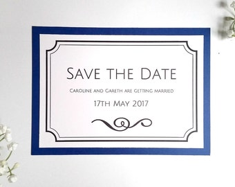 Navy blue 'Save The Date' cards