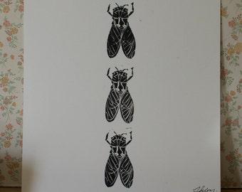 TRI CICADA// Handmade Lino Prints