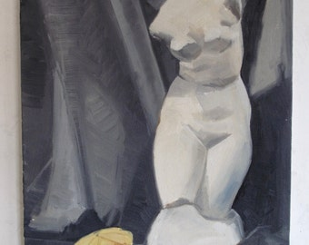 Still life with Venus and cedro - original painting, oil on canvas board, cm 50x35