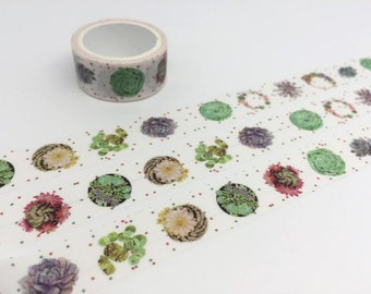 Succulent plant fat plant washi tape 3M Green plant potted plant tape plant diary garden deco sticker gardening planner tape scrapbook gift