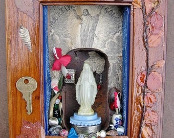 Virgin Mary Our Lady of the Sardine Can Mixed Media Collage Shrine Shadow Box Wall Decor
