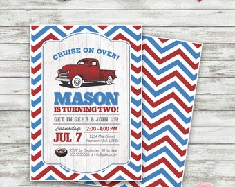 Vintage Truck Birthday Invitation, Pick Up Truck Invitation, Truck Birthday Invitation, Red and Blue Truck Birthday Invitation - Printable