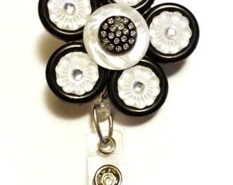 ID Badge Holder / Black White Shimmer
