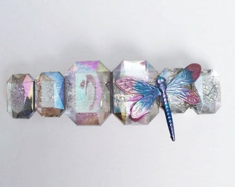 Dragonfly Hair Barrette, Dragonfly Hair Clip large Light Weight French Barrette