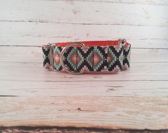 MADE TO ORDER-Orange Navy Grey Green Tribal Dog Collar, Choose width- Buckle or Martingale- add Embroidery and/or Leash