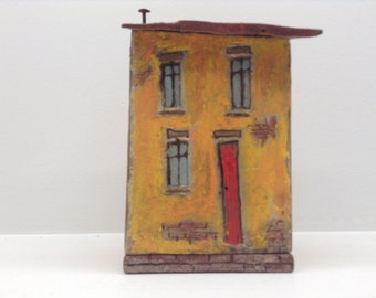 172 - wood venetian yellow birdhouse, red roof and door. Greytimberwolfcrafts ,  is  great  idea for house warming gift.