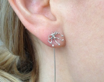 Seed head stud earrings with a difference - sterling silver