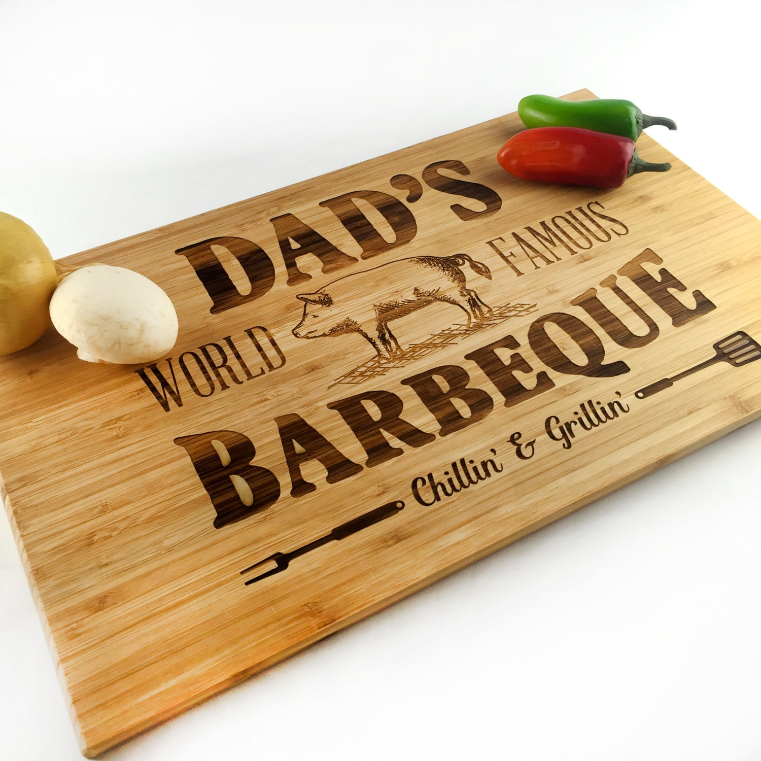 Fathers Day Gift Cutting Board Dad Jokes Grill Chill Dads World ...