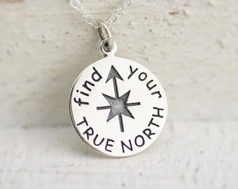 Find Your True North Necklace - Sterling Silver Find Your True North Necklace - Graduation Jewelry - Gift for Graduate - Compass Necklace