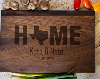 Custom Cutting Board, Personalized Cutting Board, Texas, Home,  Wedding Gift, Anniversary, Bridal Shower Gift, Kitchen Decor #3141