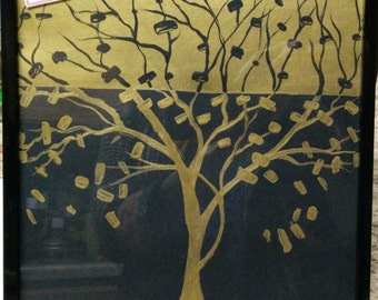 Golden Black Tree Modern Art