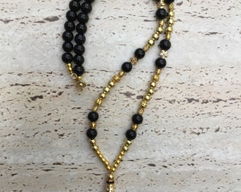 Crystal Suncatcher & Black Beads Necklace