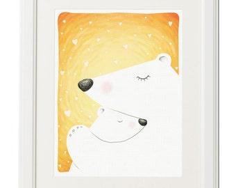 Love of baby bear -Kids room-Mother gift-Nursery decor-Digital download-Printable artwork-Animal illustration-Instant download