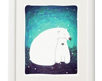White polar bears dreaming -Baby gift-Instant download bear print-Baby wall art-Baby room decor-Digital animal illustration