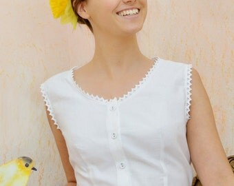 Just Lady - Vintage inspired Victorian white cotton vest,  white cotton top